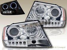 99-04 Jeep Grand Cherokee Projector Headlights Chrome LED Twin Halo