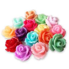 Resina de lucite flor pequeña 10mm Rose Bud Cabujones Flatback Adornos Craft
