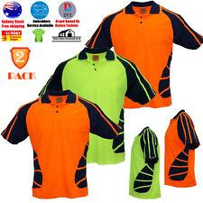2 PACK Hi-Vis Safety T-Shirt Lapel Stripe Work Wear Construction Cooldry Shirt
