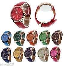 New Womens Ladies Girls Faux Leather Strap Rose Gold Bazel Fashion Wrist Watch