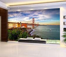 3D lake bridge building Wall Paper Print Decal Wall Deco Indoor wall Mural
