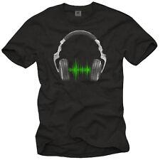 DJ T-Shirt auriculares Headphones Elektro banda música ecualizador Cool Fun Shirts
