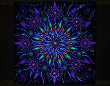"UV BACKDROP ""Flower of Space Energy"" Psychedelic Tapestry Fractal Mandala banner"