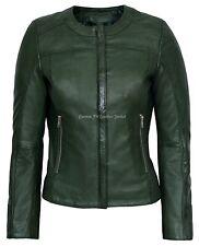 Ladies Real Leather Jacket Green 100% Lambskin Classic Fashion Designer 5328