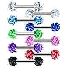"Ferido Nipple Ring Body Jewelry Barbells Round Disco Ball 16g 1/2"" Barbell"