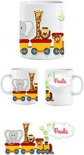 Tasse mit Druck und Wunschname Name Tier Eisenbahn Elefant Giraffe  Sublimation