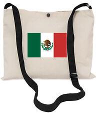 Mexican Flag Canvas Musette Bag 40x30cm, 150cm Long black adjustable strap
