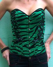 NUOVO Verde Smeraldo Zebra Tigre top bustiere corsetto Hell Bunny XS S M L Punk Goth
