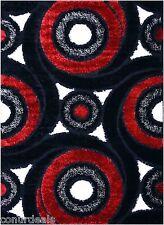 BLACK WHITE RED SWIRL SHAG AREA RUGS SHAGGY RUG MODERN  3x5 3x7 4x6 5x7 7x10