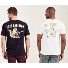 True Religion Men's Big Buddha Logo Gold Foil Metallic Tee T-Shirt