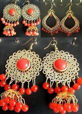 Dangle Fashion Coin Pearl Shell Earrings Gold Green Orange Grace Of New York