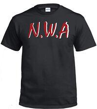 NWA T-Shirt Red White Logo Straight Outta Compton Rap Black T-Shirt Tshirt
