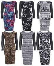 New Ladies PVC Sleeve Midi Dress Bodycon Wetlook Sleeve Dress 8-14