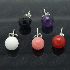 925 Sterling Silver & Gemstone Ball Stud Earrings Amethyst Black Agate Coral 8mm