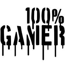 """Sticker Décoration Texte """"100% GAMER"""" Sanglant 15x18 cm à 30x37 cm, (JEU001)"""