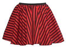 """Ladies 15"""" Black & Red Striped Full Circle Skater Skirt Burlesque Fancy Dress"""