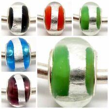 Beautiful Around Foil Lampwork Glass Beads Fit European Charm DIY Bracelet Gift