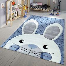 Kinder Teppich Moderner Spielteppich Hase Punkte Design Modern In Blau Weiß
