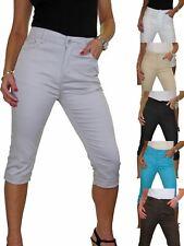 High Waist Capri Cropped Stretch Jeans Chino Sheen Turn Ups 10-20