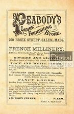 1800s Ad Reprint: Peabody's Ladies Furnishing Store, Salem, MA