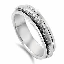 Men Women 7mm 925 Sterling Silver Band Spinner Ring / Gift Box