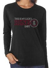 This Is My Lucky Bingo Shirt Rhinestone Women's Long Sleeve Shirts Gambling