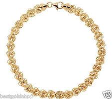 High Polished Love Knot Rosa Link Bracelet Solid Genuine 14K Yellow Gold 6mm