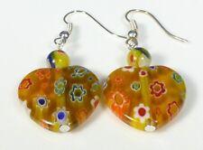 Yellow Heart Earrings Crystal Glass Millefiori Sterling Silver