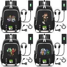 Anime Ben 10 Cartoon USB charging backpack Teenagers Schoolbag travel shoulder