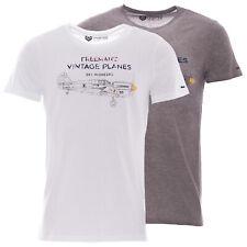 Freeman T. Porter T-Shirt Herren Freizeitshirt Vintage Airplane Print Weiß Grau