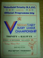 Wakefield Trinity v Halifax programme 22.9.80