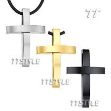 TT 316L Stainless Steel Large Cross Pendant Necklace 3 Colors Engravable (NP242)