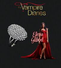 The Vampire Diaries Elena Gilbert Multi Diamond Crystal Stone Silver Plated Ring