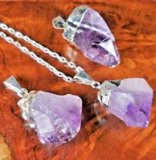 Amatista Collar Punta de cristal colgante plata LR30 Curación y piedras