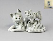 Porzellanfigur Gräfenthal Katzen-Gruppe getigert Thüringen Katze 9943095