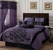 Full Queen Cal King Bed Black Purple Floral Damask 7 pc Comforter Set Bedding
