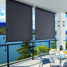 Senkrechtmarkise für Balkon mit grauer Markisenkassette Vertikalmarkise Markise