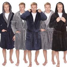 Mens Luxury Fleece Super Soft Dressing Gown Hooded Robe King Size 3XL - 5XL Warm