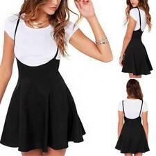 Frauen schwarz hohe Taille Rock mit Schultergurten gefaltete Hosenträger Kleid
