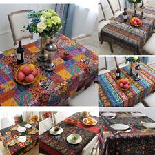 Boho Linen Tablecloth Table Cover Tea Bedside Cloth Overlay Restaurant 8 sizes