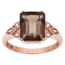 10k Rose Gold Vintage Style Emerald-Cut Smoky Quartz and Diamond Ring