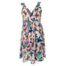 White Red Butterfly Print Swing Dress Sleeveless Retro Vintage 20 22 24 26 28