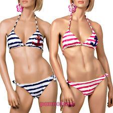 Bikini costume triangolo righe paillettes moda mare donna due pezzi B2392