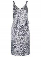 Sommer Kleid Satin ärmellos Grau Print 38 40 42 44 46 48 50 52 54 luftig neu 440