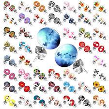 1 Paar Ohrstecker witzige Comic Logo Ohrringe mit Bild Motiv rund Edelstahl