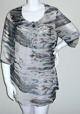Beautiful! Abstract Sheer Chiffon Smocked Top Blouse Tunic - Plus 14W 16W - New!