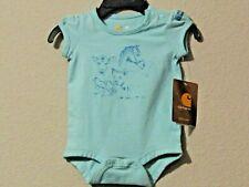 Carhartt infant girls 1-piece short sleeves light aqua w//pink /& purple tractor