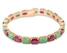 Natural Emerald & Ruby Gemstone 14K Rose Gold Plating 925 Silver Tennis Bracelet