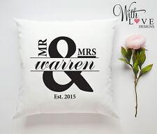 MR & MRS WEDDING ANNIVERSARY PERSONALISED CUSTOM PILLOW CUSHION GIFT PRESENT