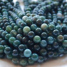 "16"" Semi Precious Gemstone Moss Agate Round Beads  4mm 6mm 8mm 10mm 12mm Grade A"